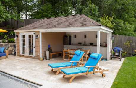 A Custom Pool House Pavilion for a New Pool in Braintree, MA
