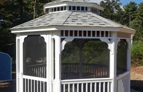 12' Octagonal Vinyl Gazebo with Mosquito Netting