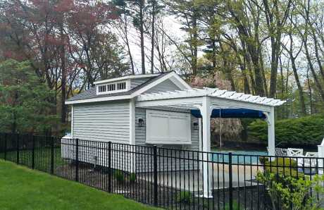 Cedar Sided Pool House with Attached Pergola