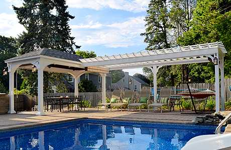 pavilion and pergola combination structure in Worcester MA