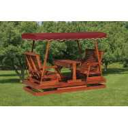 Wooden Keystone Glider with Red Canopy