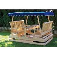 Wooden Keystone Glider with Blue Canopy