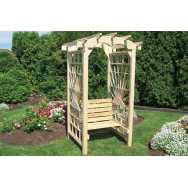 "36"" Sun Rays Round Top Arbor with Seat"