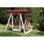 Poly Double Lawn Swing with Burgundy Canvas Top