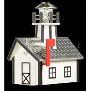 Deluxe Lighthouse Mailbox White and Black