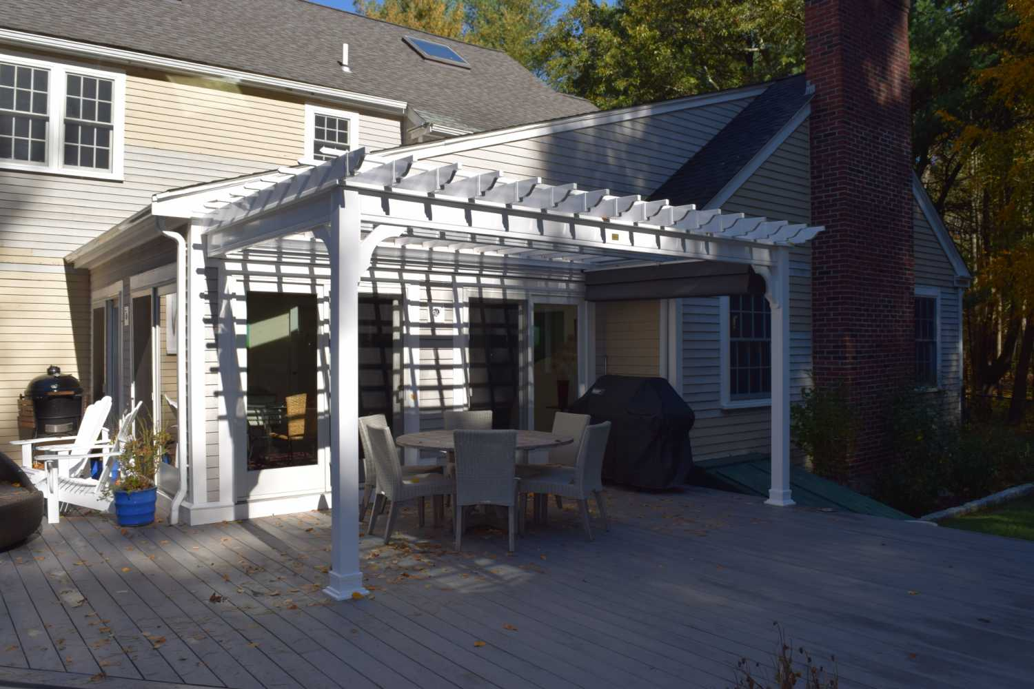 Custom attached to house pergola, made with all vinyl materials to last a  lifetime. - Pergolas Baystate Outdoor Personia