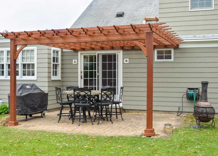 14 x14 Wood Pergola in Riverside, Rhode Island