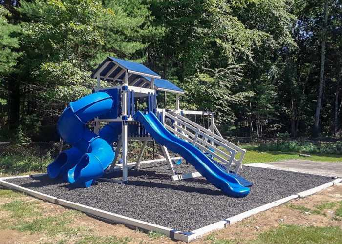 Custom White and Blue Vinyl Swing Set in Upton, Massachusetts