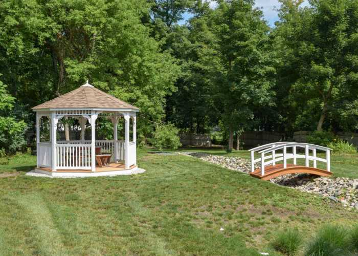 A Custom Gazebo and landscape bridges For Franklin TV Company