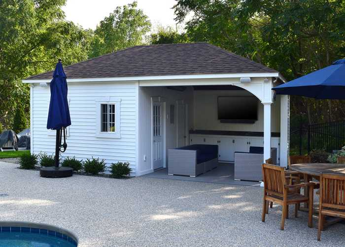 Custom Swan Pool House in Hingham, MA