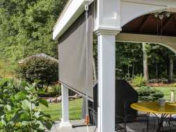 This pavilion features EZ shade, with vinyl construction, will last a lifetime.