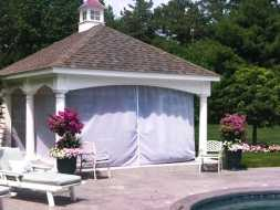 Pavilion personalized for the customer with shades, a cupola accent.