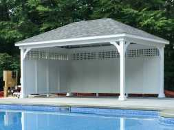 Pavilion with privacy wall, added custom features, for whatever customer wants.