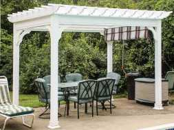 Outdoor backyard pergola with an ez shade is a great addition to the patio.