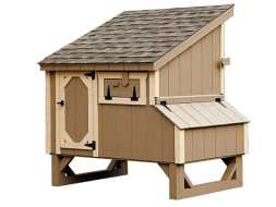 Chicken Coop with a shed style roof and features nesting boxes, fresh air door, and a door for cleaning access.