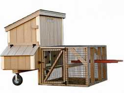 This smaller chicken coop features nesting boxes plus a run area, and is made to be easily portable.