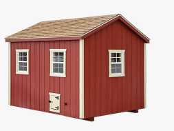 This large chicken coop has lots of windows, small run door, vertical red painted siding and a shingle roof.