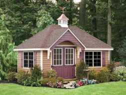 This shed has a very appealing design is built to store all your backyard garden tools and look good doing it.