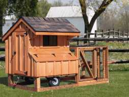 Cedar board chicken coop plus a small attached run area and has tires making it portable and good looking.