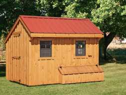 Chicken Coop is bigger than some offers ample room for a larger flock plus has full size walk door.