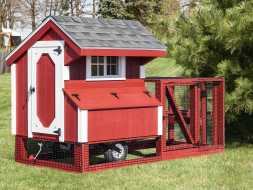 This chicken coop is made to look good anywhere plus its practical with the run area and the tires underneath for portability.
