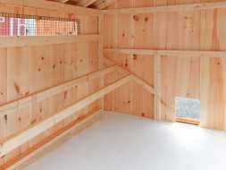 Chicken Coop interior designed with roosting rails and solid pine board construction, look good for many years.