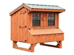 This chicken coop features 2 sliding windows with screens, nesting boxes and large access door for easy cleaning.