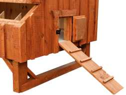 This chicken coop comes with a small run door and ramp plus its elevated off the ground making chores easier for you.