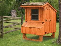 This small chicken coop has cedar board exterior, shingle roof, and nesting boxes.