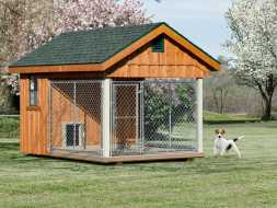 Dog Kennel for a 1 or 2 dogs with open air run and enclosure.