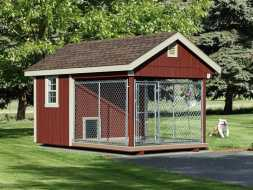 Dog Kennel with painted vertical siding, shingle roof and chainlink run area.