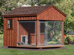 Dog Kennel with stained cedar exterior, provides functionality with good looks.
