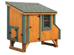 This small chicken coop has room for a few backyard hens, features a small run door and a window, plus a shingle roof.