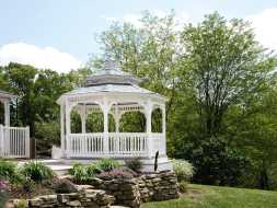 This vinyl gazebo has great looks, and is a great addition to the backyard patio.
