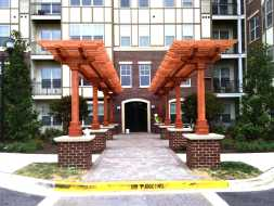 Pergola for this commercial location adds a valuable accent to this business, custom designed and built.