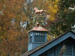 Custom cupola painted with louvers and transom windows plus a weathervane.