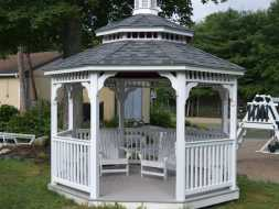 Commercial gazebo with pagoda roof and composite deck.