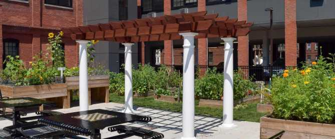 A pergola in Boston MA.