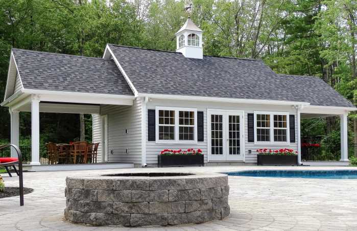 Custom Pool House with Stone Fire Pit