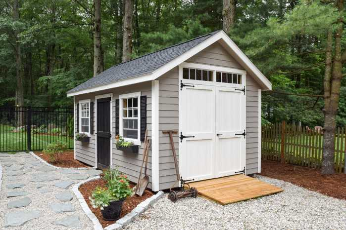 Trestle Custom Shed with Garden Tools