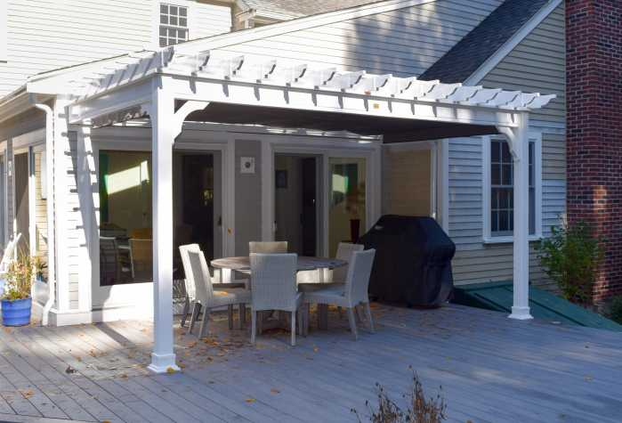 Custom Vinyl Pergola with Shade Cover