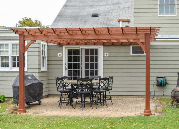 Wood Pergola Connected to House