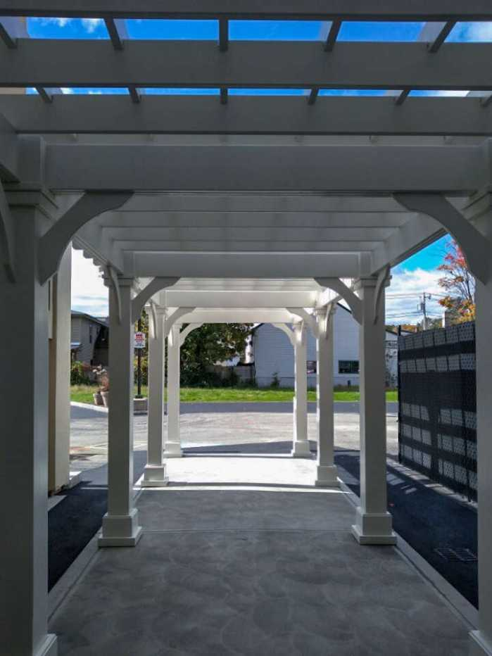Inside of custom commercial pergola