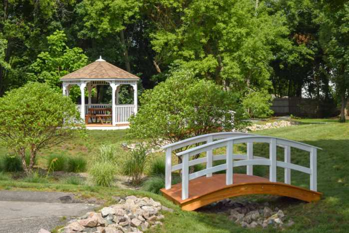 custom vinyl gazebo and garden bridge for TV company
