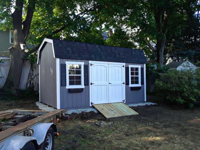 finished shed installation