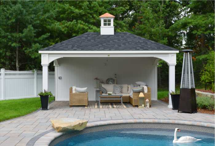 12x18 poolside pavilion in Norfolk, MA