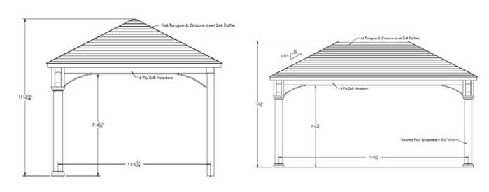 blueprint for 12x18 swan pavilion in Norfolk, MA