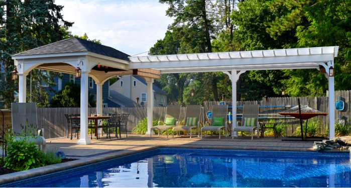 pergola and pavilion combo structure by poolside in Worcester, MA