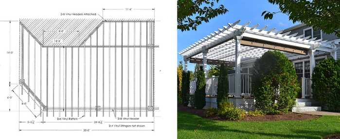 plans for a custom 20 x 30 pergola in MA