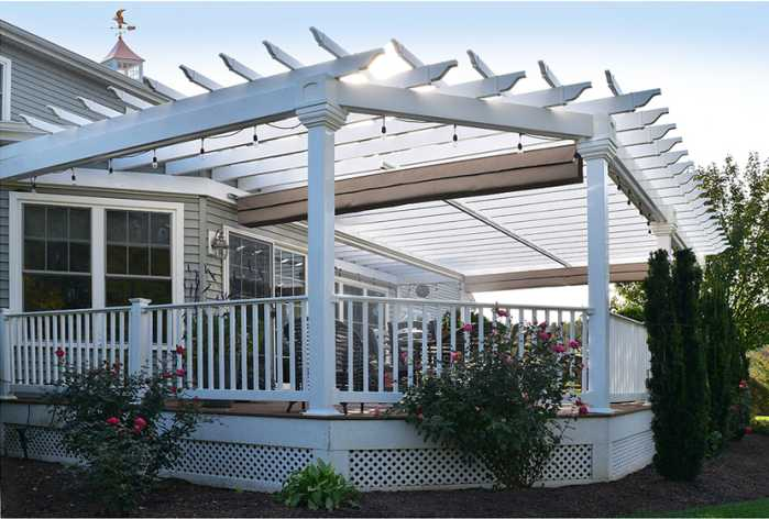 Side view of a custom-built pergola
